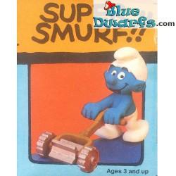 40225: Schlumpf mit Rasenmäher *SUPER SMURF!!* (Super schlumpf/ MIB)
