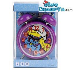 Zwarte Smurf mini klok met alarm (sleutelhanger)