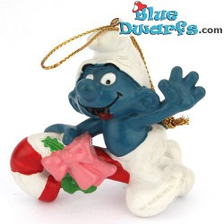 51907: Christmas Smurf Riding Candy cane