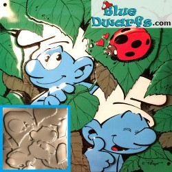 Emaille smurf plate (+/- 18x18 cm)