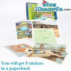 5x smurf sticker *I Puffi Girotondo nel mondo* (+/- 6,5 x 5cm)
