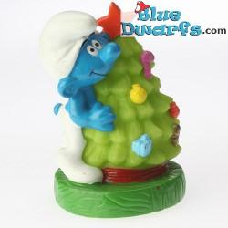 Schlumpf mit Weihnachtsbaum *Stopfe Schlumpf* (BIP Holland, +/- 8cm)