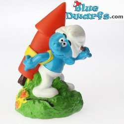 Smurf with fireworks *Candytopper*  (BIP Holland, +/- 8cm)