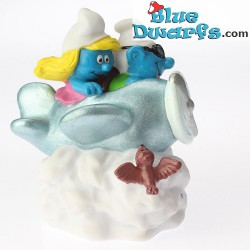 Airplane Smurf and smurfette *Candytopper*  (BIP Holland, +/- 8cm)