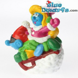 Smurf and smurfette on bobsled *Candytopper*  (BIP Holland, +/- 8cm)