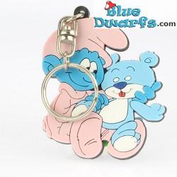 Baby Schlumpf mit Teddy (Schlüsselring/ Schleich)