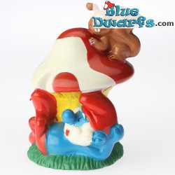 Papa smurf with mushroom *Candytopper*  (BIP Holland, +/- 8cm)
