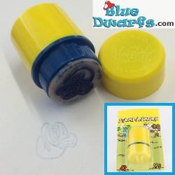 Gele stempel smurfin *Ganz bros. toys ltd./ Stamp a Smurf*