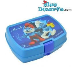 Lunchbox: Jokey and papa Smurf  *Arabic* (+/- 17,5 x 13 x 5 cm)