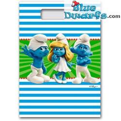 8x Party-Tüten Schlumpf *blau-weiß* (+/- 24*17 cm)
