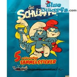 5x Schlumpf Aufkleber *Sammelsticker* (+/- 6,5 x 5cm)