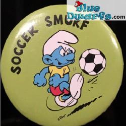 "Smurf button: ""Soccer smurf"" (+/- 5cm)"