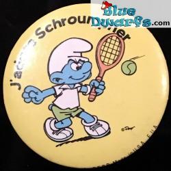 "Schlumpf Button ""J'adore schtroumpher"" (+/- 5cm)"