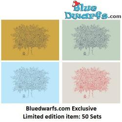 Set van 4 gelimiteerde Smurfenkaarten Bluedwarfs.com (15 x 10,5 cm)
