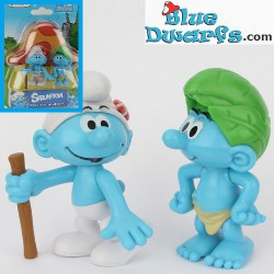 Painter smurf and smurfette *Jakks Pacific * (+/- 7cm)