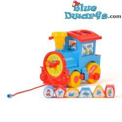 Plastic smurf train (+/- 25 x 15 x 15 cm)
