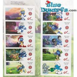 10 timbres-poste autocollants *les schtroumpfs*