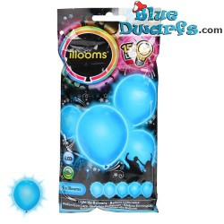 5x smurf blue light up balloon (+/- 23cm)