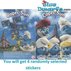 4x smurfen sticker Capri-Sun *2013* (+/- 10 x 14,5cm)