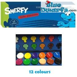 Verfset met 12 kleuren verf Smerfy