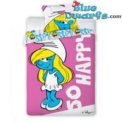 "Smurf duvet cover smurfette ""so happy""  (+/- 160x200)"