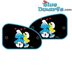 2 x side sunshades smurfette kissing (+/- 64x42cm)