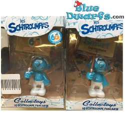 """PLA0149+PLA150: Puffo dimostrante  """"60 years smurfs +Smurf Experience"""" (2018)"""