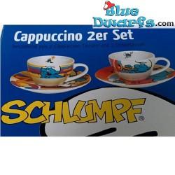 4x Schlumpf Espresso Tassen mit Untertassen
