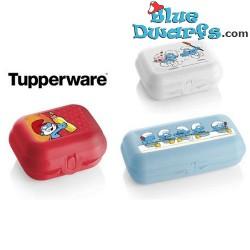 3x Smurf opbergdoos met Tupperware
