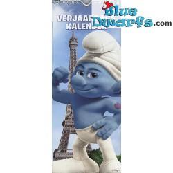 Smurf calender hefty with the Eiffeltower (+/- 33x13cm)
