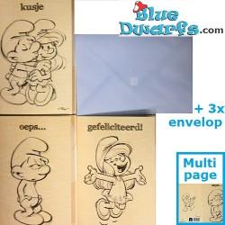 3x Postcards of the smurfs + envelops  (17,5 x 12 cm)