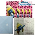 "6 x invitation cards smurfs ""Uitnodiging"""