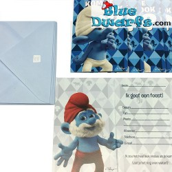 "6 x invitation cards smurfs ""Kom je ook"""