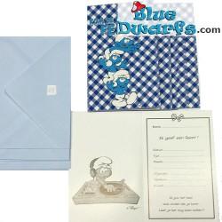 "6 x invitation cards smurfs ""Kom je op mijn feest"""