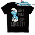 """Hefty smurf T-shirt """"Why Me"""" (Size L)"""