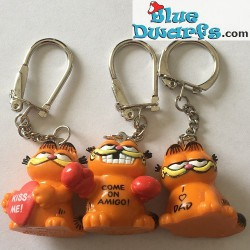Keyring: 3x Garfield 3,5 cm (rubber)
