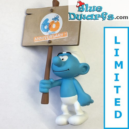 "PLA0149+PLA150: Sign bearer Smurfs  ""60 years smurfs +Smurf Experience"" (2018)"