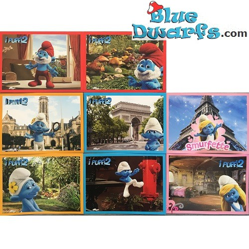 8 Postcard of the smurfs (15 x 10,5 cm)