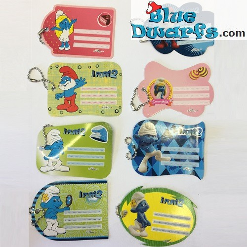 8 label tag of the smurfs (+/- 8 x 5,5 cm)