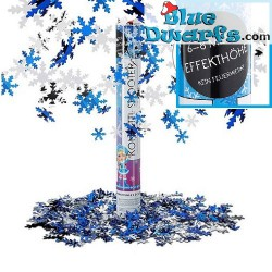Confetti shooter blue/white/silver snowflakes (6-8 metres high)