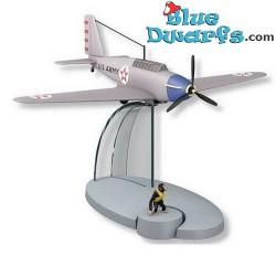 1x Statuette avion Tintin: Moulinsart (+/- 13 x 15 x 9 cm)
