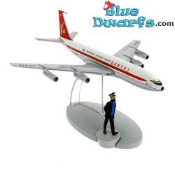 1x Statuette Le boeing 707 Qantas Australia's Overseas: Moulinsart (+/- 13 x 15 x 9 cm)