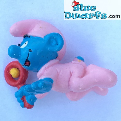 20202: Babysmurf with pink SMALL rattle
