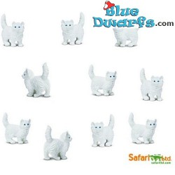 10x Mini white cat good luck mini (+/- 2 cm)