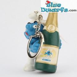 20708: Smurf met Champagnefles (50 jaar/sleutelhanger)