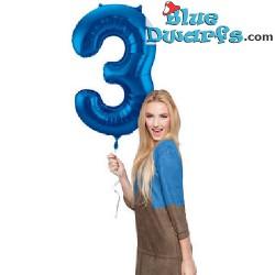 1x Ballon Gonflé à l'hélium schtroumpf Bleu Chiffre (34inch/86cm)