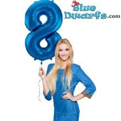 1x Smurfen blauw cijfer opblaasbaar (34inch/86cm)