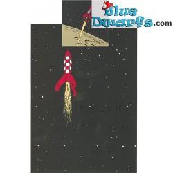 """Dekbedovertrek Kuifje: Maan raket """"Fusée lunaire""""  (140x200cm +65x65cm)"""