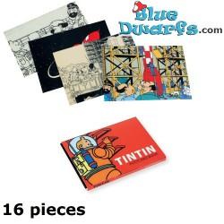 """16x  Postkarte Tim und Struppi:  Mondrakete  """"Fusée lunaire""""  (+/- 10,5 x 15cm)"""