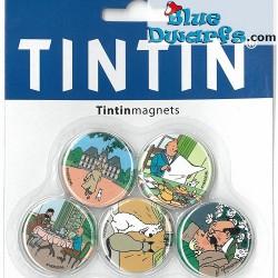5x  Magnet  Tim und Struppi:   (+/- 3cm)